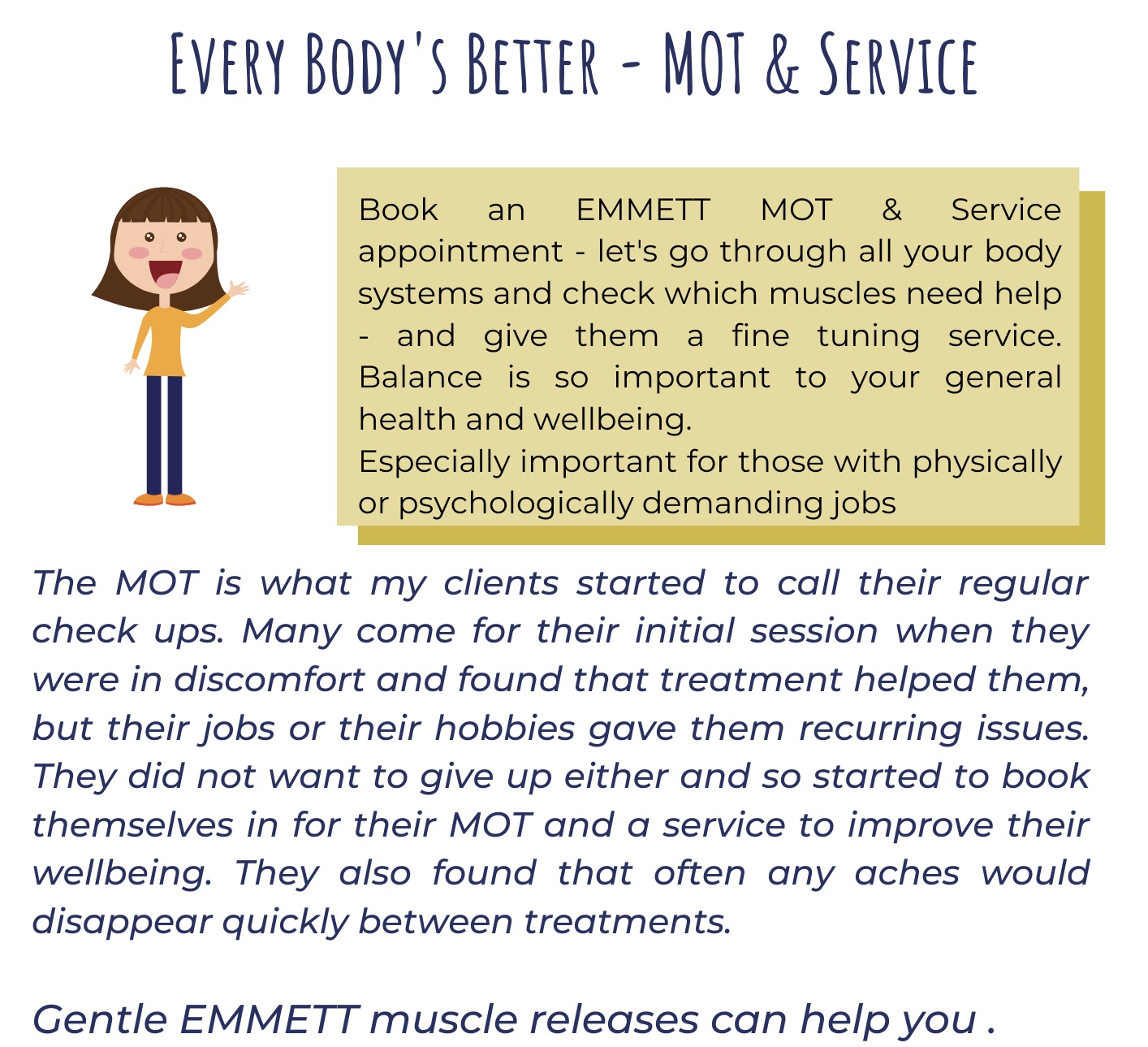 aches and pains - need a body MOT